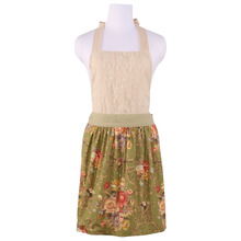 Neoviva Vintage Kitchen Apron for Women with Hidden Pockets, Style Marie in Lace, Floral Retro Green