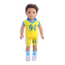The new No. 94 Yellow Soccer Jersey (Shirt+shorts) fit for 18inch Logan Doll Boy Doll American girl,Children best Birthday Gift