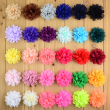 30pcs/lot 30colors 7cm Fashion Chiffon Fabric Flower Flat Back For Girls Handmade DIY Craft Garment Hair Accessories