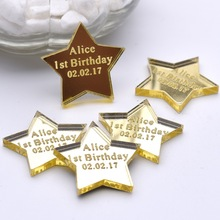 50PCS 4*4cm Mirror Personalized Engraved Love Star Table Centerpieces Baby Shower Tag 1st Decoration Best Birthday Gifts Favors(China)