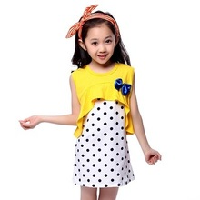Retail Girl Dress Set: Sundress with Dot Pattern & Solid Tops Tees with Bow for Children 4-14Y Yellow Green Rose