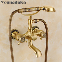 Free Shipping Brand Brass Material Bronze Finish Luxury Bathroom Rain Shower Set,Vintage Carving Bathtub Mixer Facuets LY-738(China)