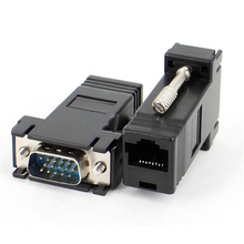 1pc VGA RGB HDB Male to LAN CAT5 CAT6 Net Cable Adapter Professional 15-pin HD-15 VGA to RJ45 Female Extender(China)