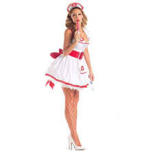 Red Bow Sexy Nurse Halloween Costume For Women Role Play Dress Uniform Racy Doctor Nightclub Costumes Party Medical Clothing
