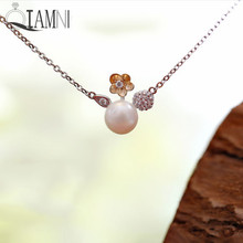 QIAMNI 925 Sterling Silver Simulated Pearls Yellow Flower Zirconia Crystal Ball Necklace Pendant Women Girls Christmas Jewelry(China)