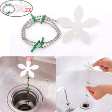 2pcs Drain Hair Catcher Stopper Clog Sink Strainer Flower Kitchen Bathroom Remover Cleaning Filter Strap Pipe Hook FP