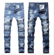 2018 nueva moda Vaqueros Hombre Patchwork hueco impreso mendigo Pantalones Hombre  Vaqueros de mezclilla Pantalones Hombre 31411af0ad0