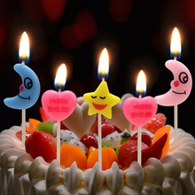4pcs! love / heart star shape Smokeless candle romantic kids baby shower Birthday Cake decoration(China)