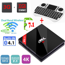 H96 Pro+ Android Tv Box 4K Amlogic S912 Octa core 3GB 32GB Android 7.1 Tv Box Dual WiFi BT4.1 HDMI 2.0 1000M LAN+I8 Keyboard(China)