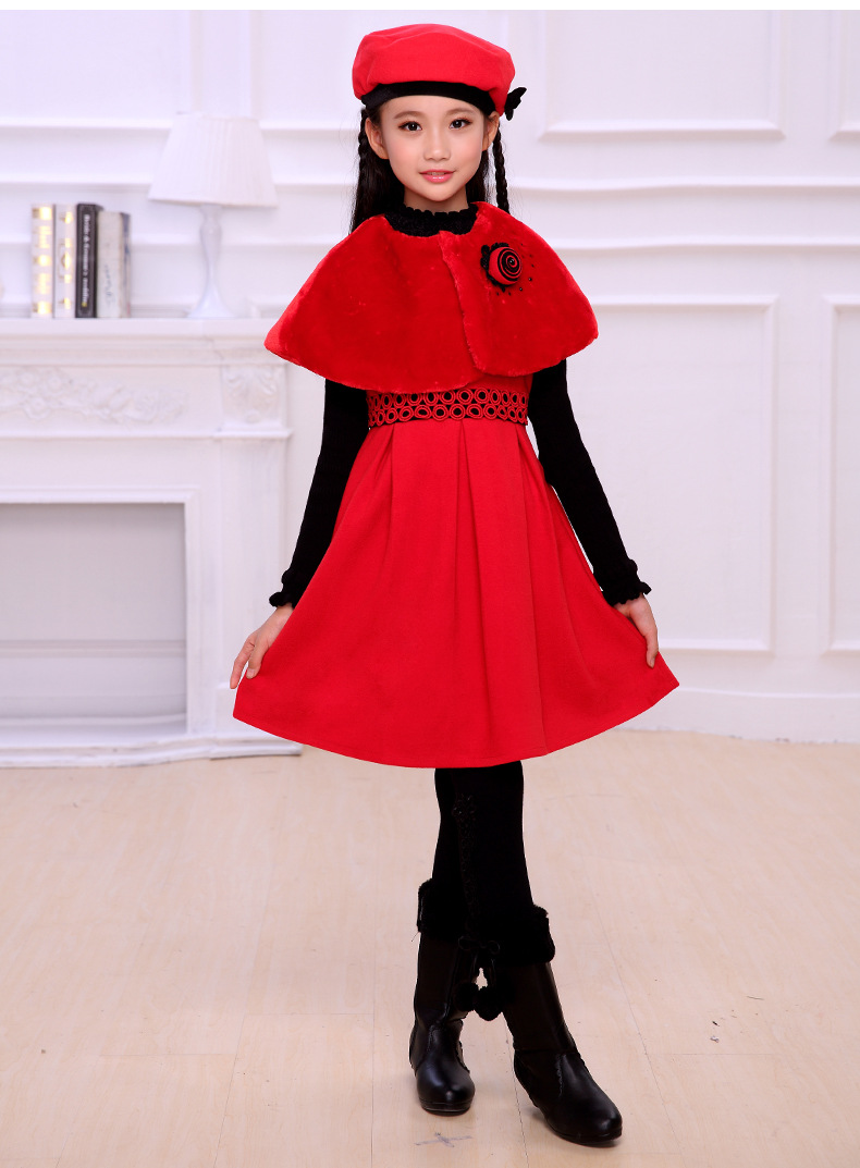 Autumn and winter new girls three - piece dress  red dress dress Christmas New Year Princess dress age from 3-14T<br>