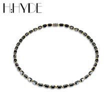 H:HYDE Men Women Necklace Hematite Magnet Golden Beads Magnetic Therapy Care Neck Black Natural Stone Ethnic Necklaces Jewelry(China)