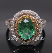JEWELRY SETS SOLID 18K ROSE GOLD NATURAL COLOMBIA GREEN EMERALD DIAMOND RING