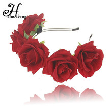 Buy Fashion Rose Flower Crown Headband Hair Hoop Bridal Wedding Festival Row Floral Garlands Hairband Wreath Hair Accessories for $3.82 in AliExpress store