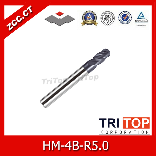 high-hardness steel machining series ZCC.CT HM/HMX-4B-R5.0 Solid carbide 4-flute ball nose end mills with straight shank<br>