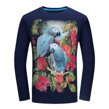 New 2017 Spring And Autumn Season 3d Flower And Bird Printing Long Sleeved T-shirt Large Code Men's Mail Free Shipping(China)
