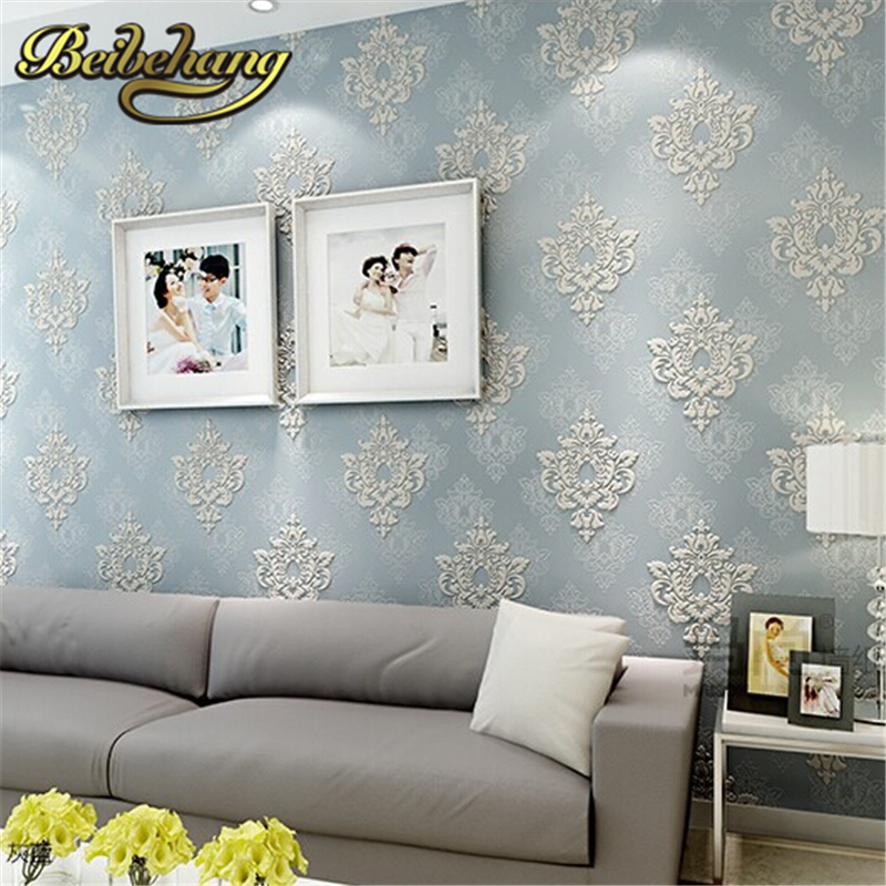 beibehang 3D three-dimensional relief European Damascus non-woven wallpaper bedroom living room sofa TV background wallpaper<br>
