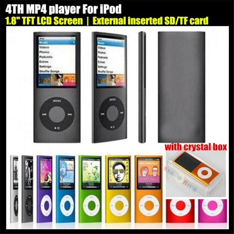 "4TH 1.8"" LCD Screen Sport MP3 player External inserted TF Card,(no SD/TF Card),Video FM Radio Music HD MP3 Player,+Crystal Box(China (Mainland))"