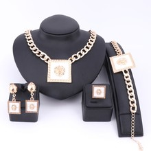 Chokers Gold Color Classic Fashion Medusa Jewelry White Enamel Lion Head Myth Square Pendant Necklace Ring Party Jewelry Sets(China)