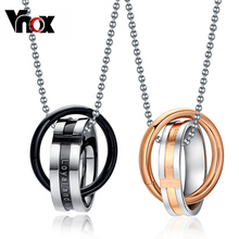 Vnox Endless love couple necklace pendant stainless steel double loop couples for wedding christmas jewelry