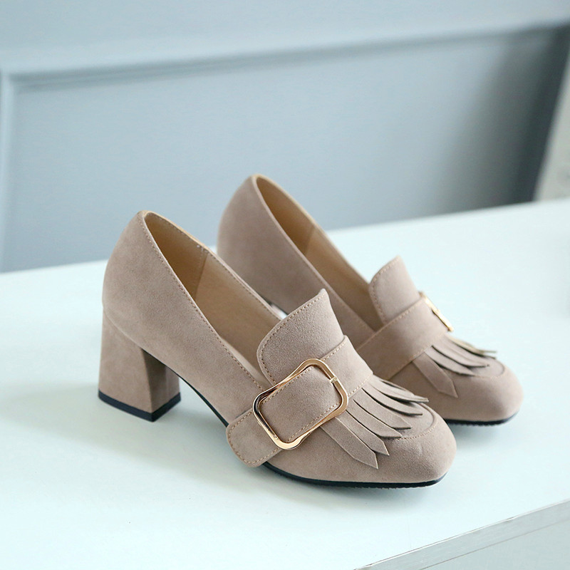 woman spring/autumn shoes pumps basic med fretwork heels round toe fashion casual slip-on narrow band metal decoration 20%off fr<br><br>Aliexpress