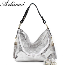 Arliwwi Brand Luxurious Gold Silver Snake Pattern Embossed Cowhide Women Handbags Designer 100% Real Leather Shoulder Bags(China)