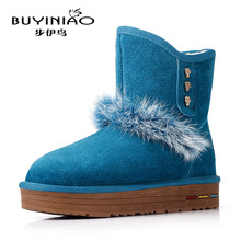 2016 New Rabbit Bunny Fur Snow Boots Skull Charms Women Winter Boots Genuine Leather Skeleton Mid-calf Boots Botas Mujer