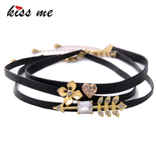 KISS ME Unique 3pcs/Set Crystal Heart Flower Arrow Choker Necklace Black Imitation Leather Chokers Fashion Jewelry(China)