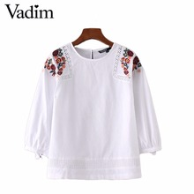 Women sweet flower embroidery loose shirts lace patchwork three quarter sleeve tie blouse white brand casual tops blusas LT1796