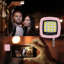 Portable Mini 16 LED Selfie Flash Fill-in Light Cellphone Camera Pocket Spotlight Photo Video Light Lamp Speedlite for Phones