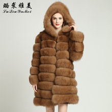 High Quality Fox Fur Coat with Hood Customize Russian Winter Coats of Fox 100% Real Fur Coats From Natural Fox Fur Jacket S-7XL(China)