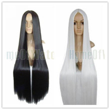 100CM Long black/white hair wig Cosplay costume anime wigs(NWG0CP60920)