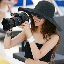 2015 Summer Fashion Floppy Straw Hats Casual Vacation Travel Wide Brimmed Sun Hats Foldable Beach Hats For Women With Big Heads(China)