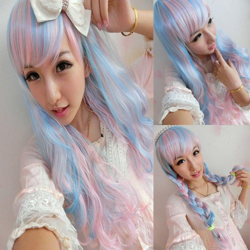65cm Blue Mix Pink Harajuku Wig Cosplay Long Wavy Curly Fake Hair Women Neat Bang Can Be Braid Cheap Wigs<br><br>Aliexpress