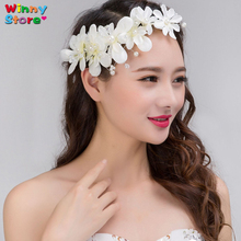 Fashion Handmade Wedding Hair Accessories White Color Lace Flower Headbands Garland For Women Pearl Bridal Headpiece Girls Tiara(China)