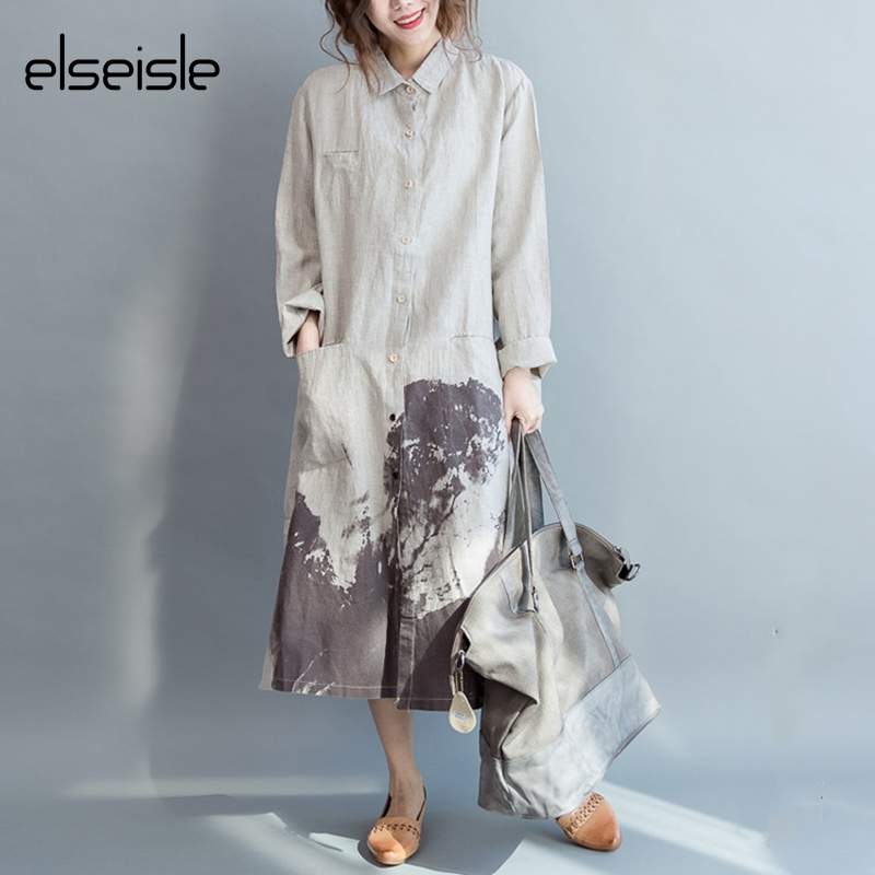 elseisle Women Shirt Dress Long Sleeve Linen Cotton Vintage dress Summer Linen dress White patterns Casual Korean Fashion Loose(China (Mainland))