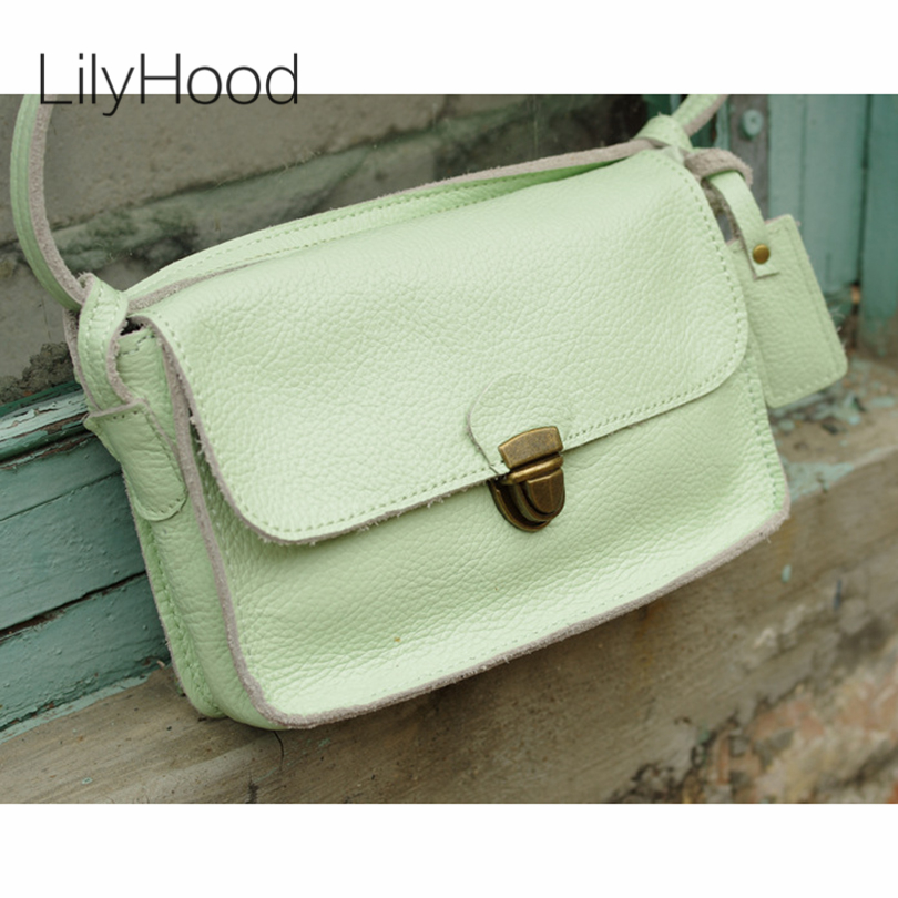 LilyHood 2017 Female Genuine Leather Flap Small Shoulder Bag Women Leisure Summer Pastel Candy Color Mini Everyday Crossbody Bag<br>