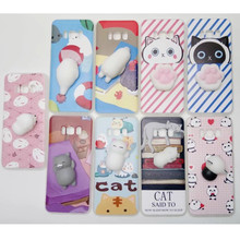 Squishy Phone Case For Samsung Galaxy S8 Plus case S8 S6 S7 Edge A3 A5 2017 Cover 3D Cute Silicone Cat Animal Rabbit Kitty Coque(China)