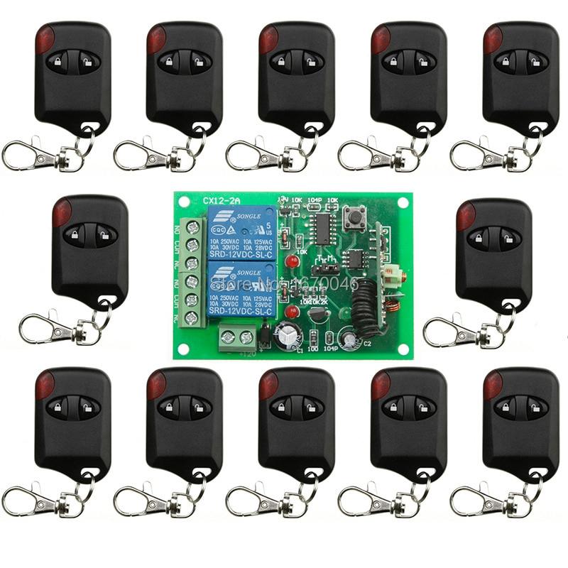 DC12V 10A 2CH 315MHz/433MHZ Wireless RF Remote Control Switch 12* cat eye Transmitter+1*Receiver for Appliances Gate Garage Door<br>