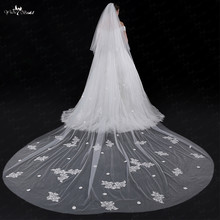 LZP034 Wedding Veil Sequin Applique Flower Veil 5 Meters
