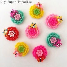 10pcs 22mm Resin Butterfly Flower FlatBack Stone Wedding Embellishment Diy Crafts K61(China)