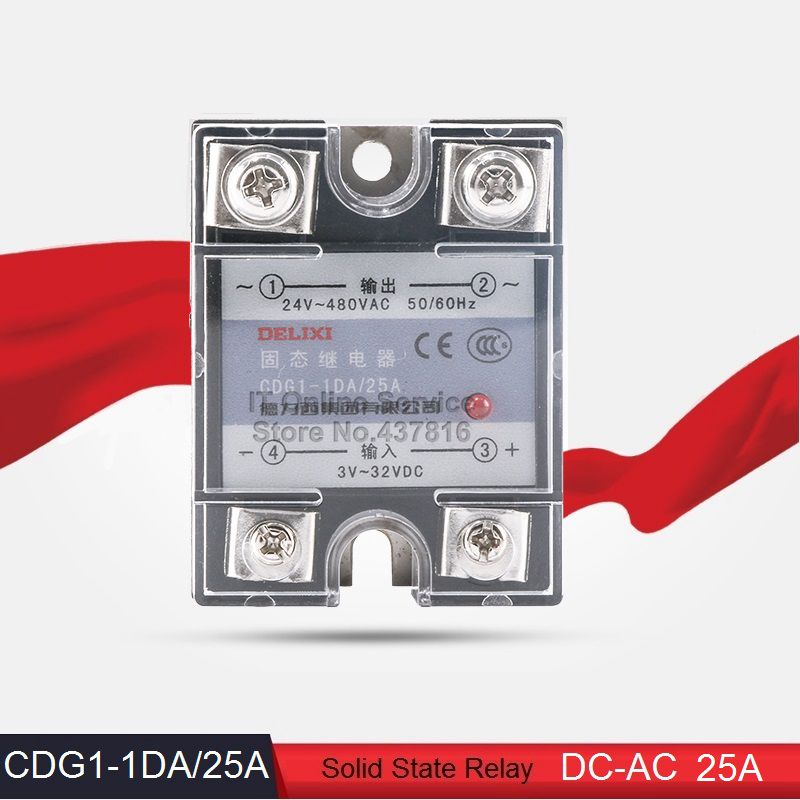 High Quality DC-AC 25A Solid State Relay Single Phase SSR 25A Input 3-32VDC Output 24-480VAC (CDG1-1DA/25A)<br><br>Aliexpress