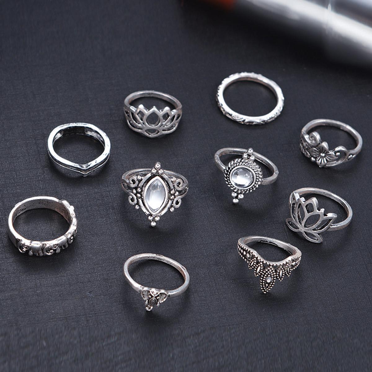 Silver 10pcs/Set Vintage Bohemian Ring Set (Less than 1$ each)