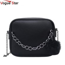 Famous brand handbag women shoulder bag designer plush ball chain leather bag small crossbody bags for women Messenger Ba LB440(China)