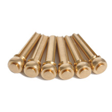 6pcs Brass Acoustic Guitar Bridge Pin With Electric Gold Plating 5.1mm Biggest Install Diameter 29mm Length(China)