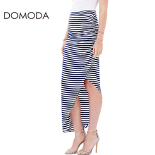 DOMODA Striped Printed Side Split Women Bottoms Casual High Waist Slim Elegant Skirts Autumn Sexy High Low Wrap Skirt