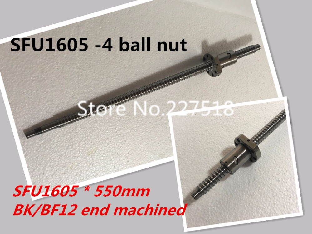 BallScrew SFU1605 -4 ball nut 550mm ball screw C7 with 1605 flange single ball nut BK/BF12 end machined CNC Parts<br>