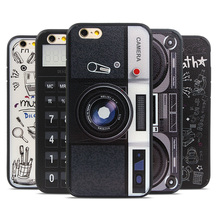 Retro Graffiti Camera tape Printed Phone Case for iphone 6 6S Plus 4.7 5.5 Consoles Calculator Keyboard Pattern Back Cover coque