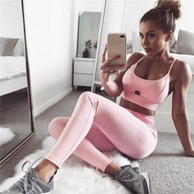Hot Sale Pink Hollow Women Yoga Sets Gym Elastic Running Sport Suit Fitness Clothing Workout Sport Wear Sports Bra+Pant(China)