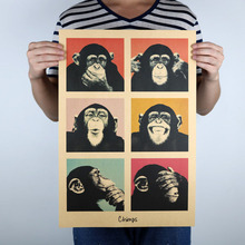 My Survival Law Gorilla Vintage Kraft Paper Poster Bar Restaurant Interior Decoration Painting Cute Monkey Wall Stickers