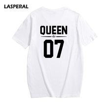 LASPERAL 2017 New Short Sleeve T-Shirts Women Men O-Neck Letter Number Printing Tee Shirts Summer Casual Solid T-Shirts Tops(China)